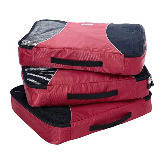 """eBags Large Classic Packing Cubes for Travel - 3pc Set 3 INCLUDES 3 Large PACKING CUBES: Dimensions are 17.5"""" x 12.75"""" x 3.25""""; great for packing sweaters, jeans, dress pants, etc. SUPERIOR QUALITY: Highest construction standards utilized, making it a customer-favorite, packing cube of choice. Includes premium self-healing zippers with corded pulls for a lifetime of opening and closing. DURABLE & CONVENIENT: Interior seams fully finished for durability and soft mesh tops won't damage delicate fabrics or dress clothes. Mesh allows for easy identification - no more digging around!"""