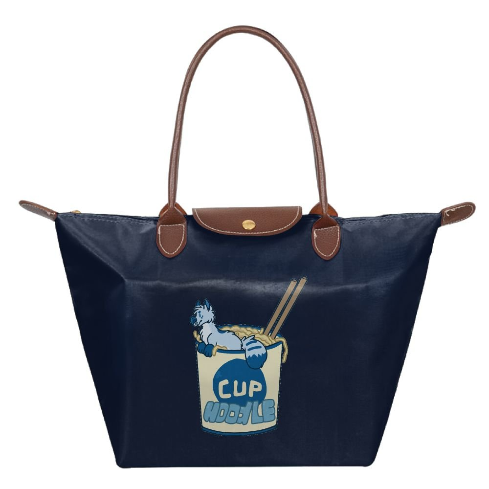 LUNKING Cup Noodle Ramen Fashion Large Size Zippered Folding Tote Top-Handle Bags.