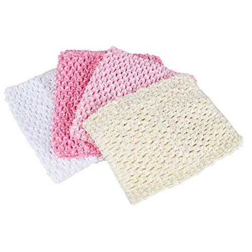 Andux 6 Inch Assorted colors Baby Girl Crochet Tutu Tube Tops Chest Wrap Wide Crochet Headbands Pack of 4 ETMX-01 (White + beige + light pink + medium pink)