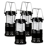 Portable Outdoor Camping Lights & Lanterns Lights,water resistant Ultra Bright 30 LED Flashlight For Hiking, Emergencies,Hurricanes,Outages, Storms, Camping Hunting -Black,Collapsible with 12 AA Batteries (4 Pack)