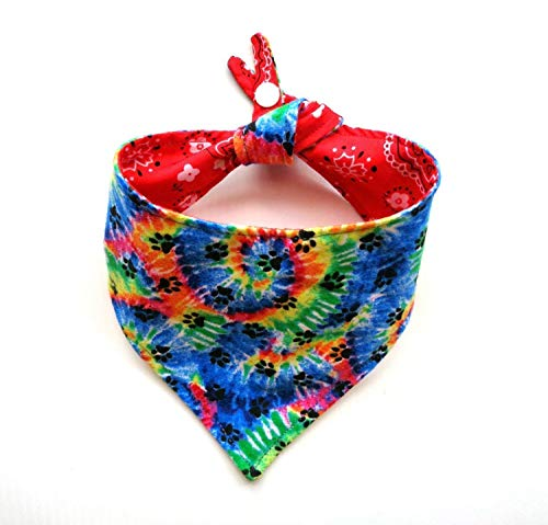Tie Dye Classic Red Everyday Cat Dog Bandana Snap Closure Adjustable Reversible Patriotic -