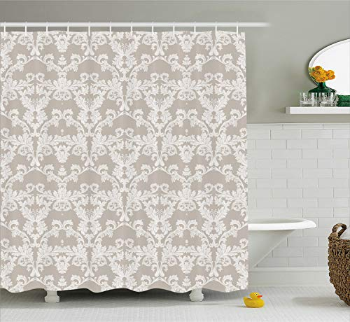 Ambesonne Taupe Shower Curtain, Nature Garden Themed Pattern with Damask Imperial Tile Rococo Inspired Stylized, Fabric Bathroom Decor Set with Hooks, 70 Inches, Taupe and White