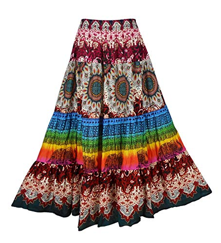 BONYA Women Hippie Boho Colorful Tiered Elastic Stretch Waist Long Skirt (Color49)