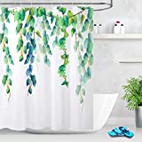 LB Fresh Design Leaf Shower Curtain,Blue Green Leaves Floral Decorative Shower Curtains for Bathroom Waterproof Fabric 60x72 Inch with Hooks