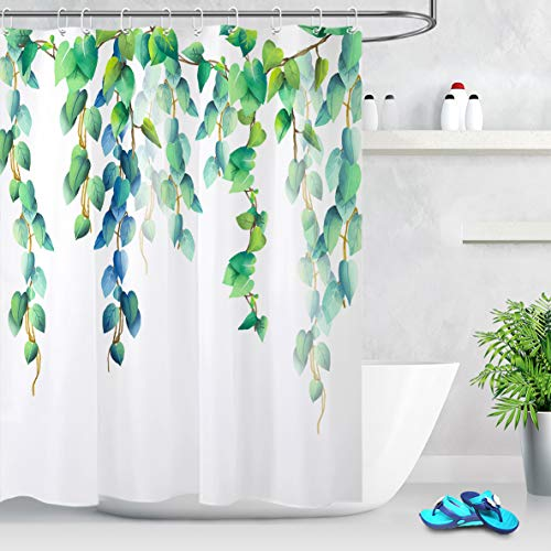 LB Fresh Design Leaf Shower Curtain,Blue Green Leaves Floral Decorative Shower Curtains for Bathroom Waterproof Fabric 60x72 Inch with Hooks (Curtain Green Blue Shower White)