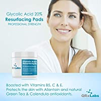 Glycolic Acid 20% Resurfacing Pads with Vitamins B5, C & E, Green Tea, Calendula, Allantoin - Exfoliates Surface Skin and Reduces Fine Lines and Wrinkles brought to you by QRxLabs
