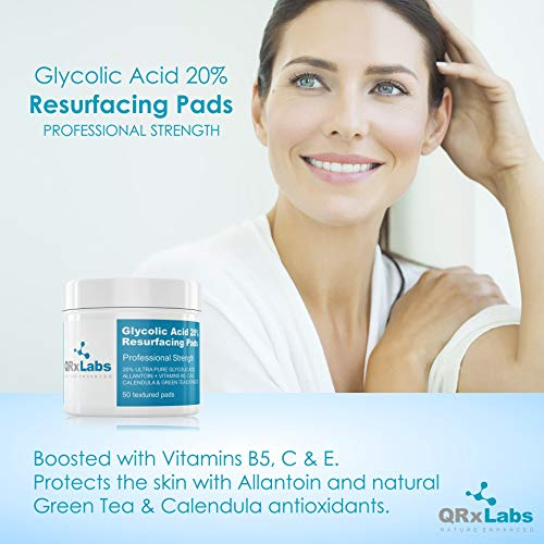 Glycolic Acid 20% Resurfacing Pads with Vitamins B5, C & E, Green Tea, Calendula, Allantoin - Exfoliates Surface Skin and Reduces Fine Lines and Wrinkles - Peel Pads