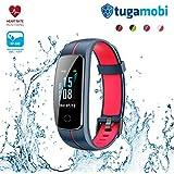 tugamobi Smart Band SB301 – Fitness Tracker with Heart Rate Monitor, Activity Tracker, Sleep Monitor, Waterproof, Pedometer (Grey and Red)