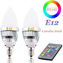 Bonlux E12 C35 RGB LED Candelabra Light Bulb, 16 Colors Changing LED Ambient Light 3 Watt RGB E12 Candle Bulb + IP Remote Controller, Fit for Home Decoration/Bar/Party/KTV Mood Ambiance Lighting (RGB E12)