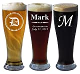 Personalized Pilsner Beer Glass 16 Oz - Wedding Party Groomsmen Father's Day Gifts - Custom Engraved Drinkware Glassware Barware Etched for Free