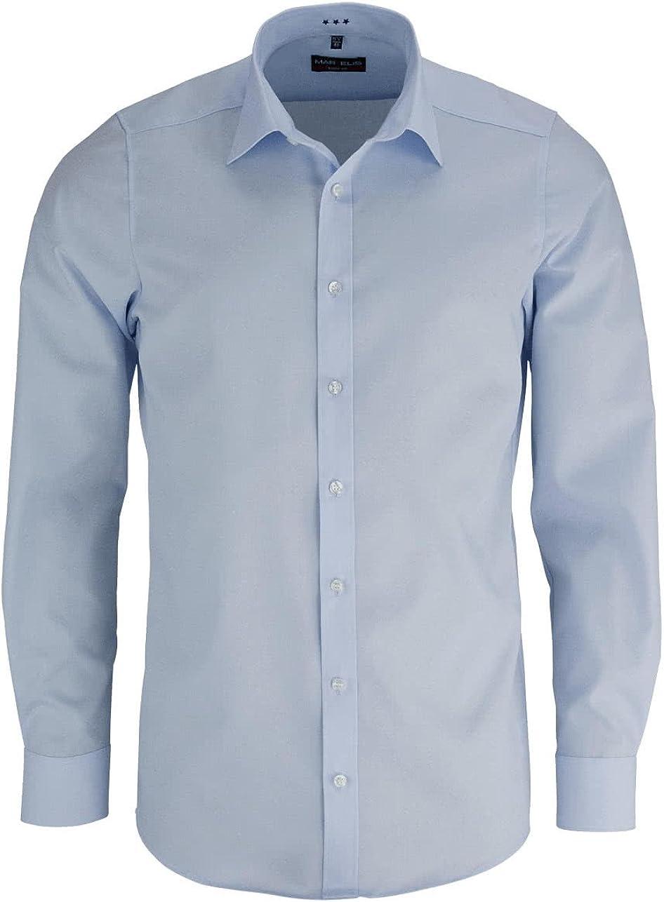 Marvelis Body Fit - Camisa monocromática azul claro 42: Amazon.es: Ropa y accesorios