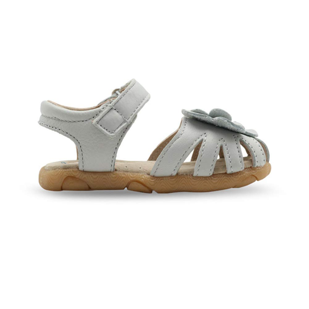 Tuoup Leather Cute Flower Closed Toe Girls Sandals for Toddler