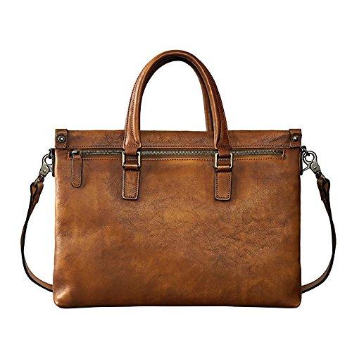 Laptop Ledertasche Aktentasche business Freizeit Laptoptasche 14 Umhängetasche Handtasche Messenger Retro Arbeitstasche Und Herren , grey brown