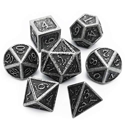Haxtec Antique Iron Metal Dice Set 7 Die D&D Dice for Dungeons and Dragons Games ()