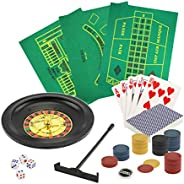 BUZZY by Fine Life Products 5 in 1 Deluxe Casino Game Set   Set Includes: Poker Blackjack Roulette Craps Playi
