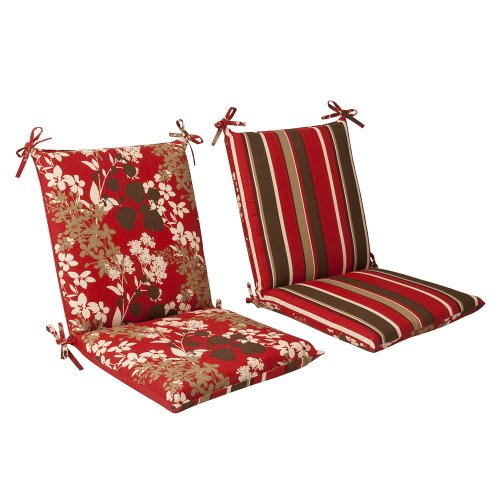 Charmant Pillow Perfect Indoor/Outdoor Red/Brown Floral/Striped Reversible Chair  Cushion, Squared