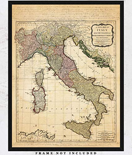 Vintage Italy Map Wall Art Print: Unique Room Decor for Boys, Men, Girls & Women - (11x14) Unframed Picture - Great Gift Idea