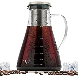 cold brew iced coffee maker kit and tea infuser by wintergreen 15l 48 oz large glass pitcher and stainless steel dishwasher safe and bpa free brewer