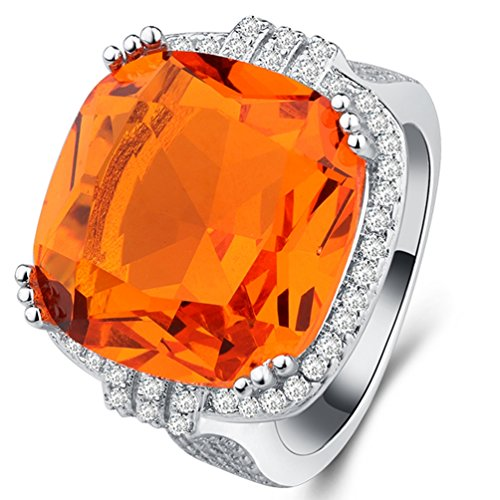 Cocktail Orange Ring (FENDINA [Hipster Style] Women's Gorgeous 18K Gold Plated Solitaire Large Orange CZ Diamond Cocktail Statement Rings 5)