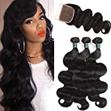 Cheap Brazilian Virgin Hair Body Wave with Closure 10A Grade 100% Unprocessed Human Hair 3 Bundles with Lace Closure 4×4 Free Part Brazilian Hair Extensions with Top Closure Natural Color 8 10 10+8
