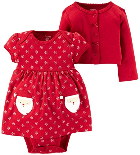 Carter's Just One you Baby Girls 2pc Dress & Sweater Set Red-Santa/Snowflake