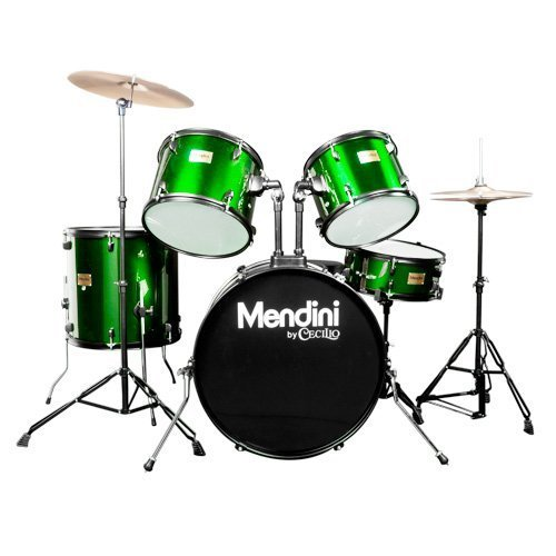 Mendini by Cecilio Complete Full Size 5-Piece Adult Drum Set with Cymbals, Pedal, Throne, and Drumsticks, Metallic Green, MDS80-GN