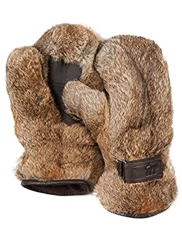 Men's Siberia Rabbit Fur Mittens (L/XL, Grey) Frr 5-1000-GREY-L/XL