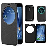 "For Asus Zenfone 2 , Leathlux Premium Wallet PU Leather [View Window] Case Flip Folio Protective Skin Cover for Asus Zenfone 2 ZE551M / ZE550ML 5.5 "" [Black]"