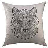 Pillow Case Antiquities White Aboriginal Ethnic Circle Reminiscent of The Mayan Calendar Ancient Archeology Square Throw Pillow Cover for Men Women Kids Cushion Cover18x18 Inch