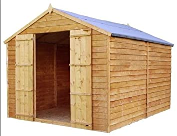 12 x 8 valor solapada sin ventanas de madera cobertizo con puertas dobles: Amazon.es: Jardín