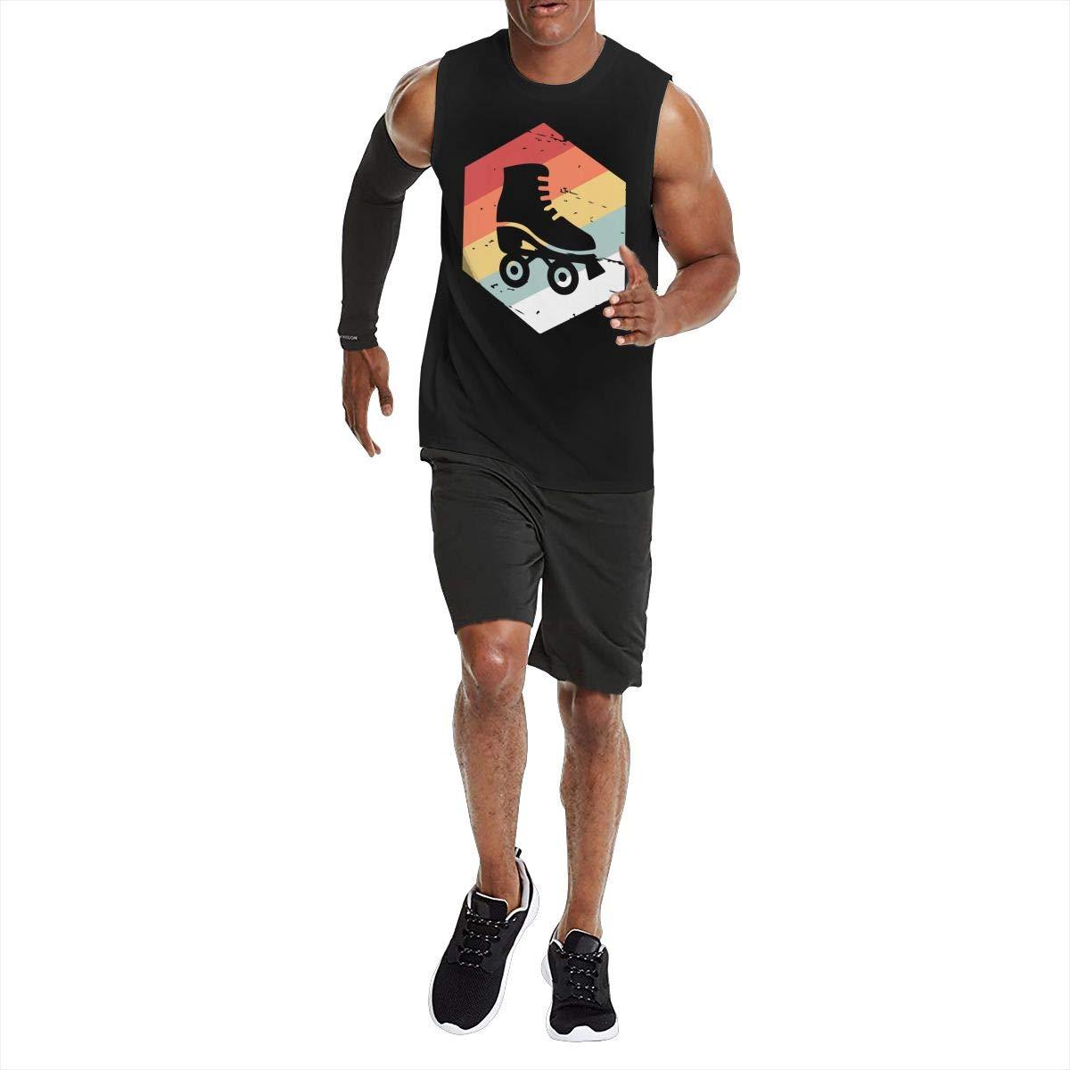 Vintage 70s Style Roller Skating Mens Compression Jersey Tank Undershirts