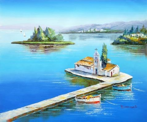 31 Photo Ink Cartridge (Oil Painting 'a Church In The Middle Of The Water', 10 x 12 inch / 25 x 31 cm , on High Definition HD canvas prints is for Gifts And Bath Room, Hallway And Living Room Decoration, images)