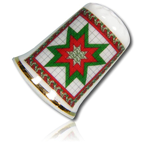 Custom & Collectible {25mm Hgt. x 19mm Dia.} 1 Single, Mid-Size Sewing Thimble Made of Fine-Grade Porcelain Glass w/ Festive Yule Time Abstract Geometric Christmas Wreath Star Design (Porcelain Wreath)