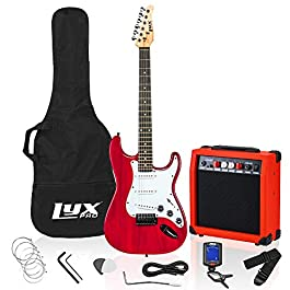 LyxPro 39 inch Electric Guitar Kit Bundle with 20w Amplifier, All Accessories, Digital Clip On Tuner, Six Strings, Two…
