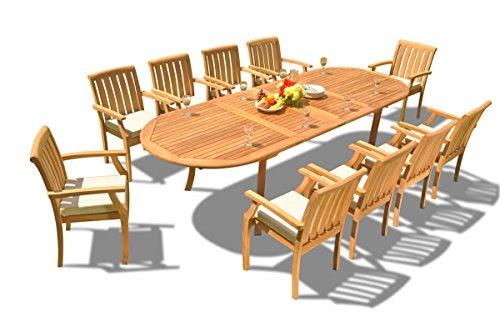 TeakStation 10 Seater Grade-A Teak Wood 11 Pc Dining Set: 117