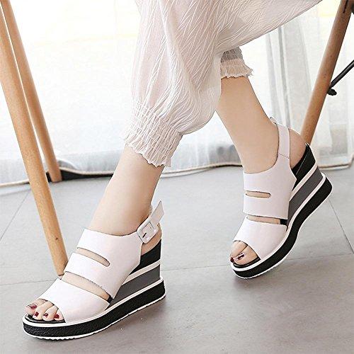 sandalias de cuña de moda salvaje verano femenino de espesor con sandalias y zapatillas de tacón alto de las sandalias las mujeres White