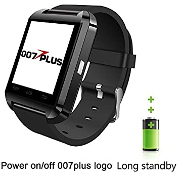 U80 U8 Smart Watch, 007plus Bluetooth 4.0 Smart Wrist Wrap Fitness Watch Phone for Smartphone Android Samsung S2/S3/S4/S5/S6Note 2/Note 3/Note 4/HTC Part Function for iPhone (U8 Black)