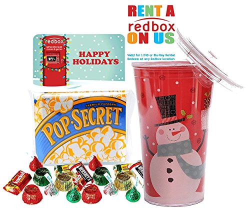 Redbox Movie Night Christmas Themed Secret Santa Resuable Tumbler Cup Gift Set! Pre Filled, Pre Wrapped & Ready For Giving!