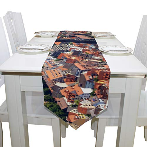Table Cover Distant Scenery View ULM Cathedral Diamond Table Runner Farm Table Cloths for Kitchen Indoor Decoration Office Place Mats Table Overlays 13x90 Inch ()