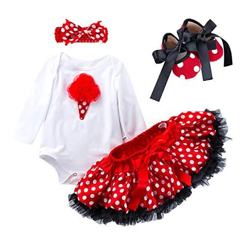 - Odizli Toddler Girls 1st Birthday Cake Smash Outfits Romper Bodysuit+Polka Dots Tutu Lace Skirt+Bow Headband+Shoes