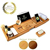 Blooming Lily Extendable Bamboo Bath Tray - Sturdily Designed Bathtub Caddy with Wine Glass Holder and more - Rack suitable for most UK Baths