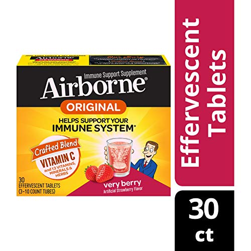 Vitamin C 1000mg - Airborne Very Berry Flavored Effervescent Tablet, 30 count - Immune Support Minerals & Herbs,  Antioxidants (Vitamin A, C & E), Zinc, Fast Absorption, Gluten-Free & No Preservatives ()