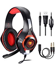 PC Gaming Headset , Gaming Headset Xbox One, USB Gaming Headset , PS4 Gaming Headset,Samoleus Stereo Game Headphones with Microphone,3.5MM Jack,LED Lighting,Bass Over Ear,Surround Sound, Noise Reduction Game Earphone-Easy Volume Control,for New Xbox One, PS4, PC, Cellphone, Laptops, Computer, Mac, iPad, Smartphone,Playstation 4
