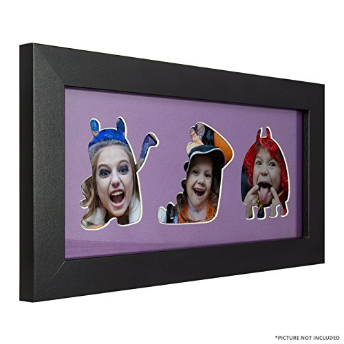 Craig Frames 76808704 6 by 14-Inch Black Picture Frame, Purple Mat with 3 - 4 by 4-Inch Halloween Theme Openings -