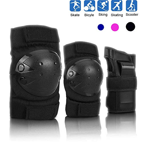 Fitwozero Kids Youth Knee Pads Elbow Pads Wrist Guards 3 in 1 Protective Gear Set for Biking, Skating, Rollerblading Scooter and Extreme Sports, Knee Pads for Multi-Sports Outdoor