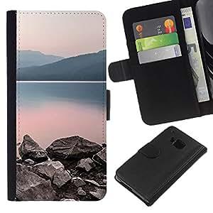 KingStore / Leather Etui en cuir / HTC One M7 / Naturaleza lago tranquilo