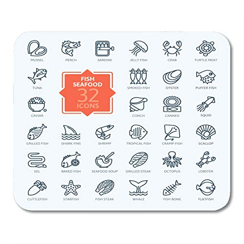 Nakamela Mouse Pads Sea Food Fish and Seafood Outline Collection for Oyster Cuttlefish Mouse mats 9.5