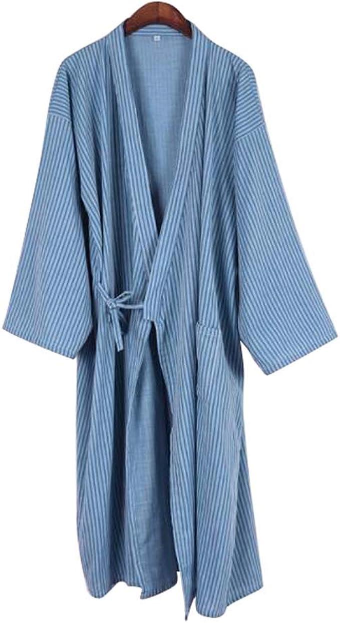 Kimono japonés Hombres Largo Yukata algodón Pijamas Batas Falda Vestido, B04: Amazon.es: Ropa y accesorios