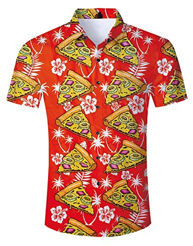 Fanient Men Boys Casual Tropical Vacation Aloha Short Sleeve Boys Collared Colorful Hawaiian Shirt Funny Printed Pattern Pizza Cat Fitted Button Down Shirt Vintage Hawaiian Shirts