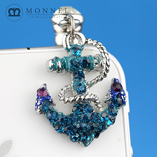 IP549 Cute Blue Crystal Boat Anchor 3.5mm Ear Jack Anti Dust Plug Cover for iPhone & Android